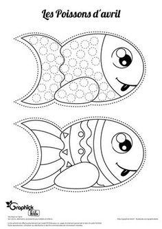 poisson d'avril gommette et coloriage sur GraphiCK-Kids Sea Crafts, Fish Crafts, Diy For Kids, Crafts For Kids, Fish Template, Animal Coloring Pages, April Fools Day, Pebble Painting, Preschool Art