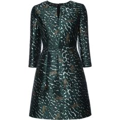 Yigal Azrouel leopard print flared dress (1 255 AUD) ❤ liked on Polyvore featuring dresses, green, yigal azrouel dress, green leopard dress, green color dress, flared hem dress and leopard print dresses