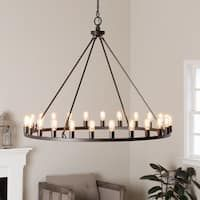 Hemsworth Oil Rubbed Bronze Chandelier - 16100946 - Overstock - Great Deals on I Love Living Chandeliers & Pendants - Mobile Modern Rustic Chandelier, Chandelier Design, Round Chandelier, Farmhouse Chandelier, Bronze Chandelier, Chandelier Lighting, Entry Chandelier, Chandelier Centerpiece, Chandeliers Modern