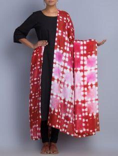 Red-White Silk Shibori Dyed Dupatta by Neelgar