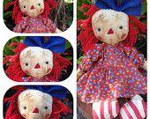 Raggedy Ann doll Primitive Folk Art Annie Clearance SALE