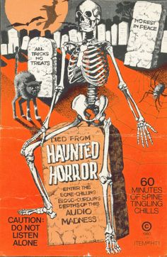 """The back card artwork for the Halloween sound effects cassette Haunted Horror.    The back card artwork for the Halloween sound effects cassette """"Haunted Horror."""""""