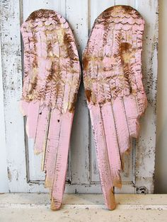 Angel wings wall hanging pink w/ gold wood and metal shabby cottage chic rusty…