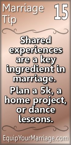 Practical Marriage Tips - Shared experiences are a key ingredient in marriage. Plan a a home project, or dance lessons. Marriage Prayer, Godly Marriage, Marriage Goals, Successful Marriage, Save My Marriage, Marriage Relationship, Marriage And Family, Happy Marriage, Marriage Advice
