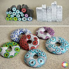 In this free  videoworkshop is showed two nice canes and hollow donut. Fill only name and e-mail address on the website and you will get video in your  mailbox. -- polymer clay tutorial