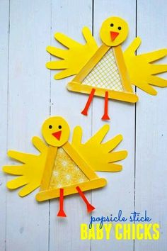 Cute Popsicle Stick Baby Chicks Craft