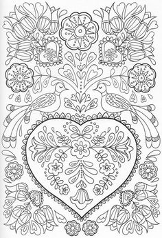 Pin By Simone Moreira Persegona On Bordado Coloring Books Cute Coloring Pages, Free Coloring, Adult Coloring Pages, Coloring Sheets, Coloring Books, Dover Coloring Pages, Scandinavian Embroidery, Scandinavian Pattern, Hand Embroidery Patterns