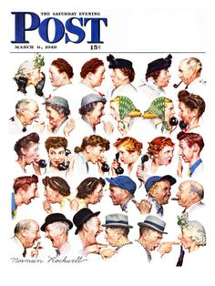 """""""Chain of Gossip"""" Saturday Evening Post Cover, March 6,1948 Giclee Print by Norman Rockwell at eu.art.com"""