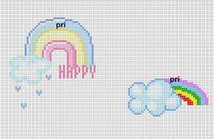 amo ponto cruz: arco-íris e casinhas