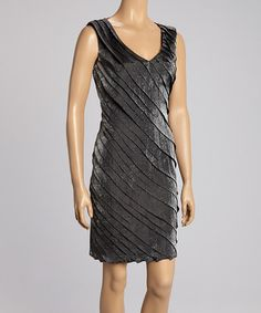 Look what I found on #zulily! Charcoal Shimmer Shutter Sheath Dress by London Times #zulilyfinds