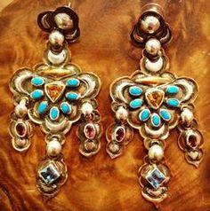 Dennis East International Triple Dangle Mixed Stone Earrings