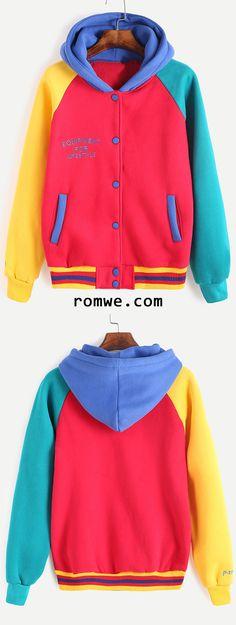 Color Block Letter Embroidered Hooded Baseball Jacket