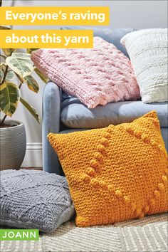 Wanna update your decor with something warm & inviting? These yarn throw pillows are a perfect way to add color & softness to any room. Knitting Projects, Crochet Projects, Knitting Patterns, Sewing Projects, Trend Fabrics, Easter Projects, Yarn Over, Joanns Fabric And Crafts, Crochet Yarn