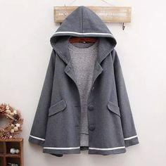 """Style:japanese style,colleg coat,cape coat,woolen cape,hooded coat,korean fashion  Fabric material:woolen,cotton blend  Color: gray,dark blue    Size:M,L  M size:  Length:70cm/27.55"""".shoulder:42cm/16.53"""".bust:104cm/40.94"""".sleeve length:61cm/24.01""""  L size:  Length:72cm/28.34"""".shoulder:44cm/17.32""""..."""