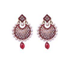 Red Drop Pearl Earrings for women online jewellery shopping