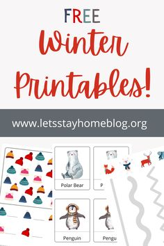 Download your FREE winter printables from our printable library! Free prewriting worksheet. Free 3 part cards. Free Counting Worksheet. Click to Download!