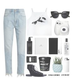 """""""Black & White"""" by stellacolor21 ❤ liked on Polyvore featuring M.i.h Jeans, Victoria's Secret, Fujifilm, Sisley, ZeroUV and Chen Chen & Kai Williams"""