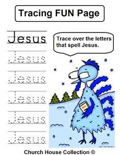 """Turkey tracer page """"JESUS"""" for small children."""