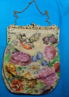 Antique Vintage Micro Beaded Purse Bag Enameled Gold Frame With Stones