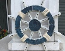 Rustic White and Blue Nautical Ship Wheel - Decorative ship's wheel - Vintage ship wheel, nautical decor, vintage beach decor - 063