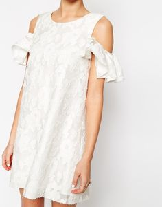 Image 3 ofASOS Textured Shift Dress with Lace Frill Cold Shoulder