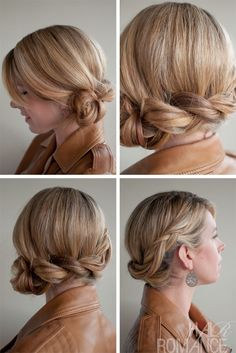 15 Ways To Wear An Inverted Braid.  Twist and Pin Side    This is a variation of the side chignon, but with added detail and texture from the braid and twist.  Found on Hair Romance
