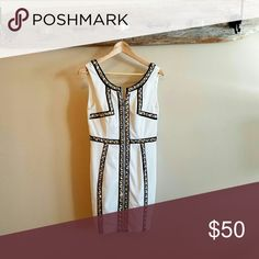 """Perfect New Years Dress!! This White and Black studded Ark & Co. dress would be a show stopper for New Years! Never Worn, with tags and extra studs. Zipper in the front. Stretch material, with a """"Deep-V"""" back. Ark & Co Dresses Mini"""