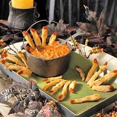 "Halloween Party Chicken Lady Fingers with Romanian Romesco Dipping Sauce Homemade chicken strips become ""fingers"" to dip in a tasty sauce for a memorable Halloween appetizer. Halloween Appetizers, Halloween Goodies, Halloween Food For Party, Spooky Halloween, Halloween Treats, Party Appetizers, Halloween Dinner, Happy Halloween, Halloween Table"