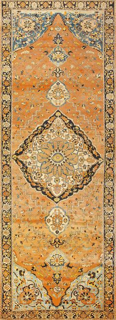 Antique Gallery Size Persian Tabriz Rug, Country of Origin: Persia, Circa Date: Late 19th Century 5 ft 6 in x 15 ft (1.68 m x 4.57 m)