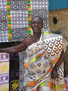 Adinkra (ah-DEEN-krah) cloth is a hand-printed fabric made in Ghana. Developed by the Ashanti people, Adinkra cloths were traditionally made for royalty to wear at religious ceremonies. Through the years, people have also decorated the cloths to tell a story or to express their thoughts or feelings.