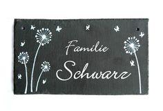 Schiefer+Türschild+Namensschild+Floral+II+von+byAnnoDomini+auf+DaWanda.com