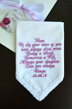 Wedding gift for Mom Personalized embroidered hankerchief for Mother of the Bride from daughter Wedding handkerchief Custom hankies https://etsy.me/2KMTz3L #weddinggiftformom #personalized #embroidered #weddinghankerchief #motherofthebride
