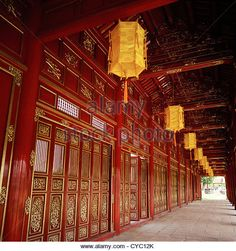 Inside the Purple Forbidden City of the Imperial enclosure of the Hue Citadel (Kinh Thanh) in Hue in Vietnam - Stock Image