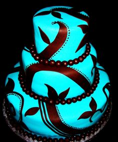 Holy bright! Love it! Wow! Bright neon blue wedding or celebration cake!
