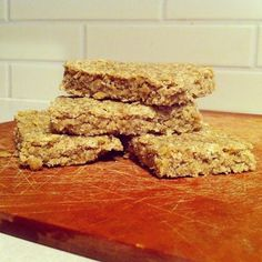 Recipe for Starbucks oatmeal bar - really good!  Put in the fridge to cool completely before cutting.