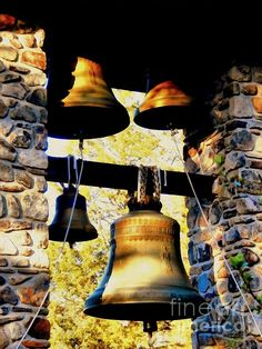 Church Bells - Old Bronze Church bells in a Stone steeple / tower. Art by Janine Riley