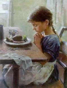 A Thankful Heart - Girl offering prayer by artist Morgan Weistling. I am not a religious person but this is beautiful because all that matters is that she is thankful and humble. No matter who she thanks Morgan Weistling, Illustration Photo, Thankful Heart, Grateful, Thankful Prayers, Beautiful Paintings, Paintings Famous, Oil Paintings, Oeuvre D'art