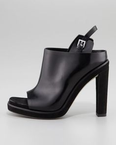 Alexander Wang Kendra Open-Toe Polished Leather Mule, Black - Neiman Marcus