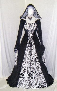 Medieval handfasting hooded dress by camelotcostumes. If I could do my wedding over, these would be the bridesmaid dresses. Steampunk Fashion, Gothic Fashion, Vintage Fashion, Medieval Dress, Medieval Clothing, Medieval Gothic, Pretty Dresses, Beautiful Dresses, Renaissance Wedding Dresses