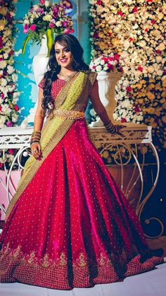 Lehenga Saree Design, Half Saree Lehenga, Lehnga Dress, Lehenga Designs, Half Saree Designs, Blouse Designs Silk, Bridal Blouse Designs, Bridal Silk Saree, Bridal Lehenga Choli