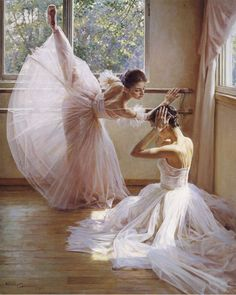 Guan ZeJu - ballet dancers painting ridiculously realistic. Click through for more shock and awe