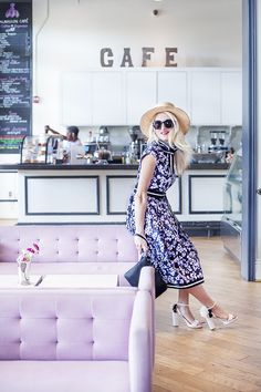 A Girly Brunch - A Lacey Perspective. Black floral midi dress+white ankle strap flower heeled sandals+black clutch+straw hat+sunglasses. Summer outfit 2016