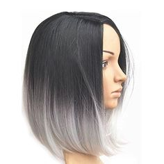 Hot products!!Meisi Hair products Heat Resistant Synthetic Bobo Black& gray Short Wigs for Women: Amazon.co.uk: Beauty
