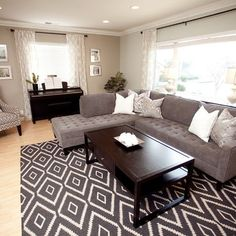 Grey Living Room Design Ideas --this is the same couch in tan but with a matching ottoman in the center instead of the table. Great idea here!