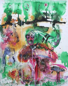 Alice in Wonderland # 1 / 2013 / acrylic and ink on paper / 50 x 40 cm by Stefan Venbroek