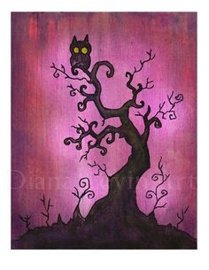 Spooky Tree Owl Art Print on the redditgifts Marketplace