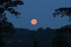Super Moonset over the Ozarks ~ Taken at the Open-air MeditationSanctuary,Eureka Springs, AR