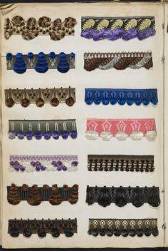 French samples of silk, velvet and lace trimmings, fringes and ribbons, 1842