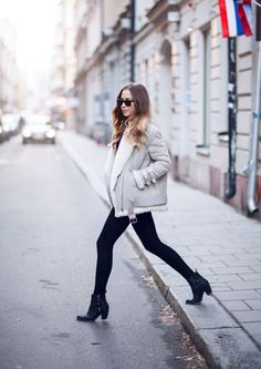 tights from Zara. knitted sweater from IvyRevel. Acne Pistol boots. The jacket is a Acne Velocite