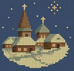 Церква Cross Stitch House, Xmas Cross Stitch, Cross Stitch Needles, Cross Stitch Cards, Cross Stitching, Cross Stitch Embroidery, Cross Stitch Designs, Cross Stitch Patterns, Christmas Embroidery